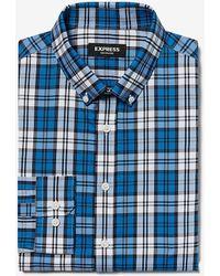 Express Classic Plaid Button-down Wrinkle-resistant Performance Dress Shirt Blue Xs