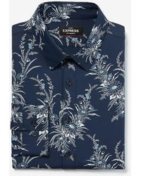 Express Extra Slim Floral Wrinkle-resistant Performance Dress Shirt Blue Xs