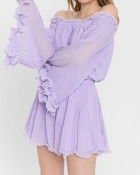 Express Endless Rose Off The Shoulder Pleated Chiffon Romper Lilac - Purple