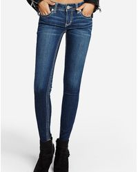 Express Low Rise Thick Contrast Stitch Jeggings, Size:18 Short - Blue