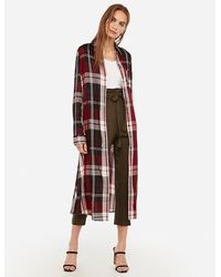 Express Plaid Pocket Duster Red Print