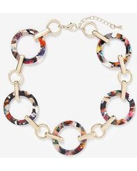 Express Multicolor Resin Link Necklace - Metallic