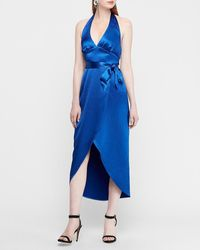Express Textured Satin Wrap Hi-lo Halter Maxi Dress Blue Xl