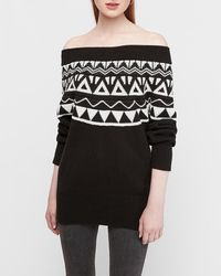 Express Fair Isle Off The Shoulder Banded Oversized Tunic Jumper Black And White