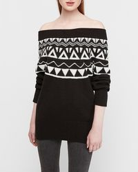 Express Fair Isle Off The Shoulder Banded Oversized Tunic Sweater Black And White