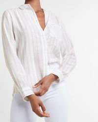 Express Striped One Pocket Boyfriend Shirt Neutral Stripe M - White