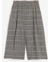 Express High Waisted Soft Plaid Bermuda Shorts Print - Grey