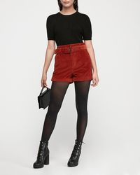 Express High Waisted Belted Corduroy Shorts Red