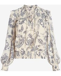 Express Paisley Smocked Ruffle Shoulder Banded Bottom Top Neutral Print S - Multicolour