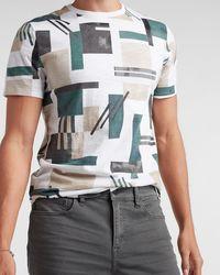 Express Abstract Slub Crew Neck T-shirt - White