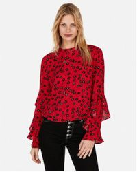 Express - Floral Ruffle Sleeve Top - Lyst