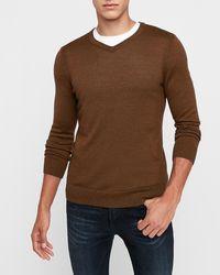 Express Merino Wool-blend Thermal Regulating V-neck Sweater Brown