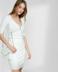 Express Ribbed Zip Front Elbow Sleeve Jumper - White