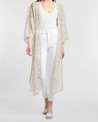 Express Cheetah Belted Kimono Cover-up White M/l