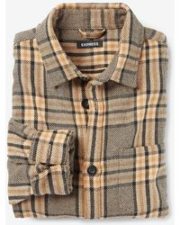 Express Slim Plaid Heavy Flannel Shirt Jacket Brown Xs
