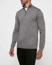 Express Merino Wool Blend Thermal-regulating Mock Neck Quarter Zip Sweater Gray Xs