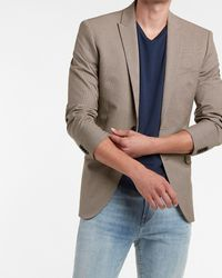 Express Slim Tan Houndstooth Modern Tech Suit Jacket - Multicolour