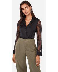 Express Slim Lace Sleeve Portofino Shirt Black