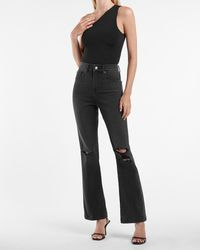 Express High Waisted Black Ripped 90s Bootcut Jeans