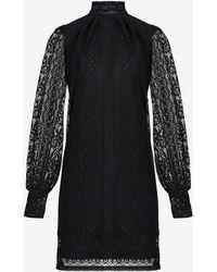 Express Lace Mock Neck Tunic Shift Dress Black Xs
