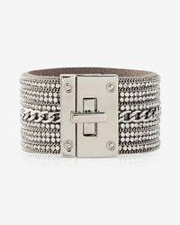 Express - Rhinestone Chain Turnlock Cuff Bracelet - Lyst