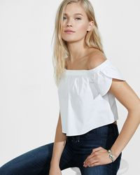 Express | Stretch Cotton Off The Shoulder Cropped Blouse | Lyst