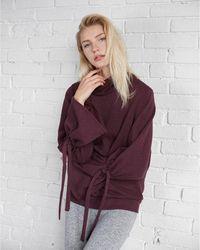 Express - Funnel Neck Tie Sleeve Sweatshirt - Lyst