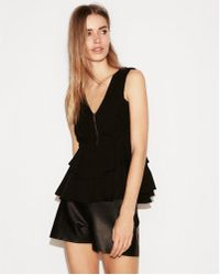 Express - Ruched Zip Front Peplum Tank - Lyst