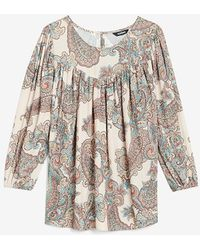 Express Paisley Ruched Top Multi Xs - Multicolour