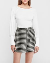 Express High Waisted Houndstooth Zip Front Mini Skirt Black And White