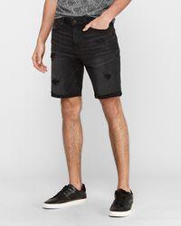 Express Black Ripped Hyper Stretch Jean Shorts Black 28