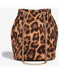 Express Leopard Chain Handle Bucket Bag - Brown