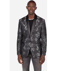 Express Slim Contrast Floral Tuxedo Jacket Black