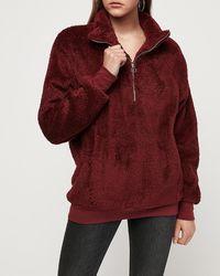 Express Cosy Fleece Quarter Zip Sweatshirt Red