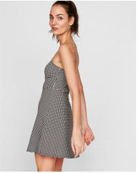 Express - Gingham Adjustable Strap Fit And Flare Dress - Lyst