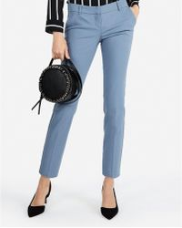Express - Low Rise Columnist Ankle Pant Blue - Lyst