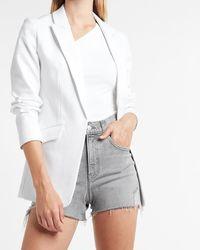 Express Luxe Comfort Knit Open Front Peak Lapel Oversized Boyfriend Blazer White