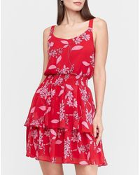 Express - Floral Tiered Ruffle Fit And Flare Dress - Lyst