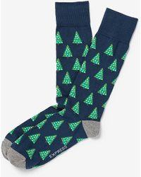 Express Ornament Christmas Tree Dress Socks - Blue
