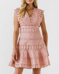 Express Endless Rose Lace Trim V-neck Dress Pink S