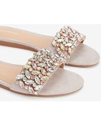 Express Jewel Embellished Rhinestone Slide Sandals Grey - Gray
