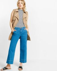 Express Tan Sleeveless Faux Suede Trench Coat - Blue