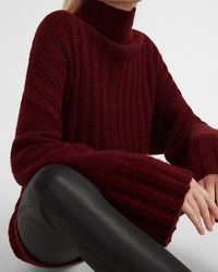 Express Mixed Ribbed Mock Neck Oversized Tunic Sweater Red Xs