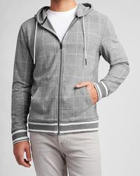 Express Supersoft Plaid Full Zip Hoodie Grey Xl