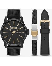 Express - Empire Black Mesh Leather Watch Gift Set - Lyst