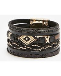 Express Mixed Seed Turnlock Cuff Bracelet Black