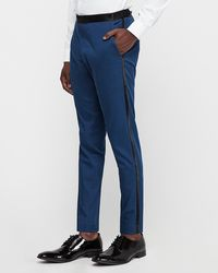 Express Extra Slim Marine Blue Cotton-blend Satin Stretch Tuxedo Trousers Blue W28 L28