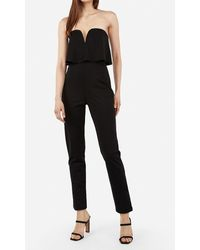 Express Strapless V-wire Flounce Jumpsuit Black