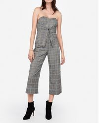 Express Strapless Plaid Knot Front Culotte Jumpsuit Grey Print 00 - Gray