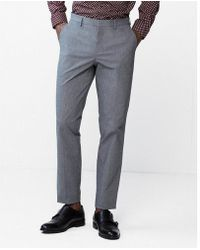 Express - Men's Slim Mini Check Dress Trousers - Lyst